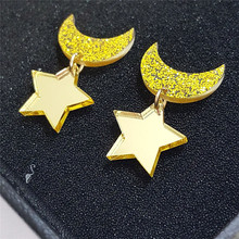 Free Shipping Elegant Acrylic Gold Color Moon Star Space Stud Earrings For Women Girls Ear Clips Fashion Earrings Jewelry pair of elegant color block half moon earrings for women