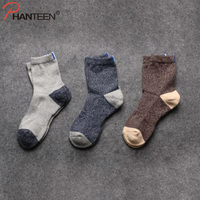 Phanteen Three Pairs A Set Man Socks For Autumn Winter Patchwork Thicken High Quality Socks Fashion