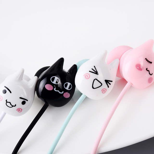 Online Shop Cute Cat emoji Earphones 35mm in-ear Stereo Earbuds