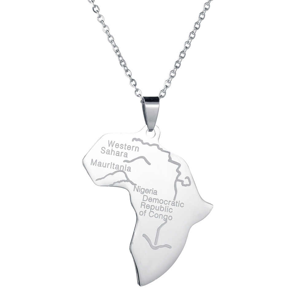 MeMolissa のヒップホップ地図アフリカネックレスペンダントシルバーグローブ世界地図アフリカ地図ペンダントネックレス女性男性