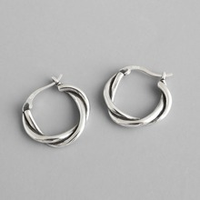Silver Color Round Hoop Earrings For Women Circle Loop Earring Twisted Geometric Earings 925 Sterling Silver Jewelry