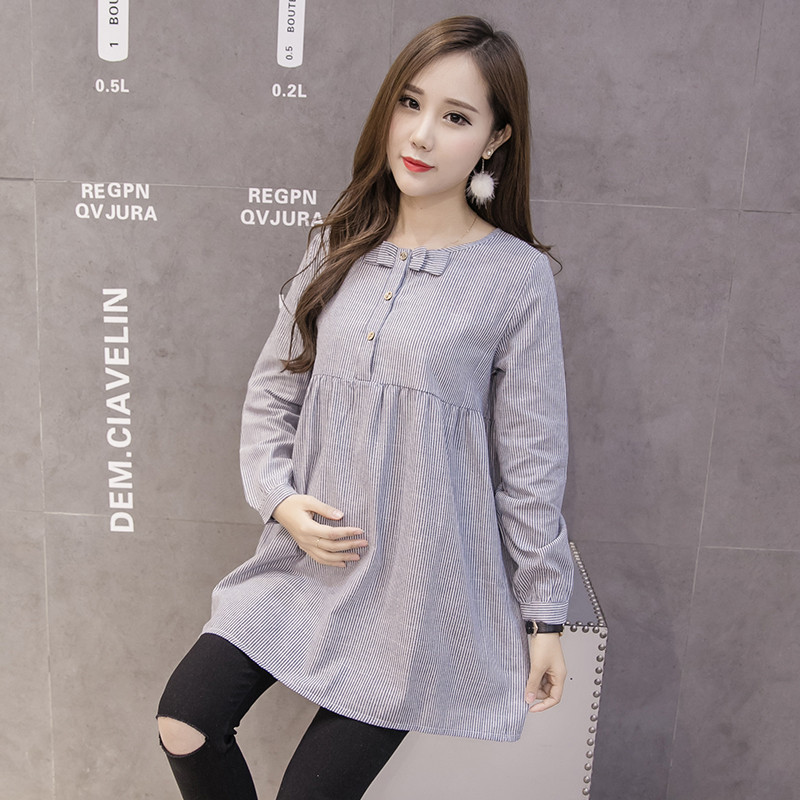 Shirts For Pregnant Women Bow Spring Long Sleeve Pregnancy Tops Blouses Fashion Striped Maternity Clothes Casual M~XXL