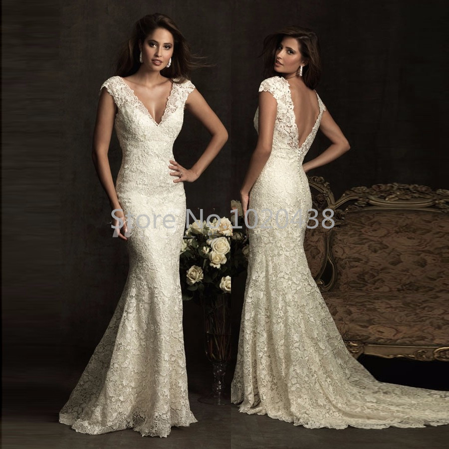 Vintage Cap Sleeve Mermaid Wedding Dresses 2016 Vestido De Noiva Deep V-neck Ivory Lace Wedding Bridal Gowns Sweep Train