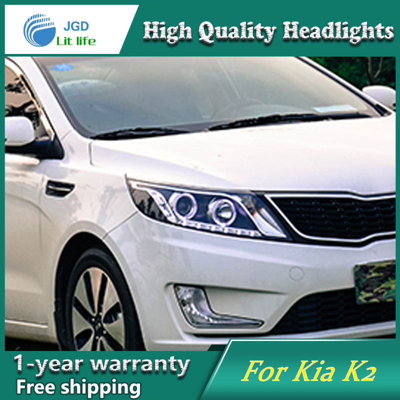 Car Styling Head Lamp case for KIA K2 RIO 2011 2012 2013 Headlights LED Headlight DRL Lens Double Beam Bi-Xenon HID Accessories headlight for kia k2 rio 2015 including angel eye demon eye drl turn light projector lens hid high low beam assembly