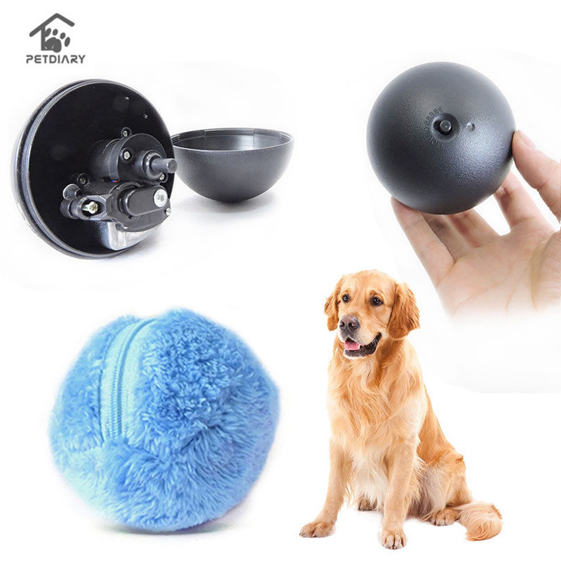 4 Color Set Electric Toy Ball Dog Cat Toy Automatic Pet Plush Ball Activation Automatic Ball Chew Plush Floor Clean Toys Pet