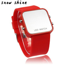 snowshine #10  1PCS Classical 12 Mini Color Mirror Face LED Silicone Men Lady Watch   free shipping