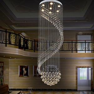 Image 2 - Modern Crystal Chandelier For Spiral Design LED Luxury Crystal Lamp Hanging Interior Ladder Corridor Lamp