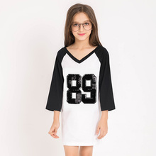 2017 Brand Girls T shirt Dress Basic Long Tshirt 82 Print Sequined Dress Kids Back to School Clothes For 6 8 9 10 11 12 13 Years