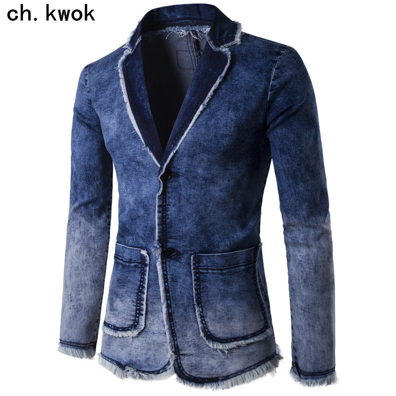 CH.KWOK Cowbooy Denim Jacket Suit Men Spring Fashion Blazer Slim Outwear Coat Masculino Jeans Suits Casual Suit Jean Jacket Men