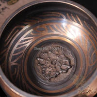 Free shipping\Special for Unusual Tibetan Bronze Gold Gilt Large Diameter 7.5 cm Tibet Bronze Singing Bowl Buddha gong