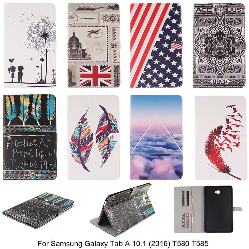 Fashion Colour Painting Case For Samsung Galaxy Tab A 10.1 (2016) T580 T585 Original PU Leather Tablet Stand Case With Card Slot