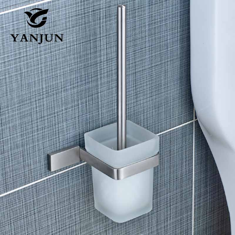 YANJUN Stainless Steel Toilet Brush Holder Bathroom Accessories WC Brush With A Long Handle For Home YJ-81958 velvet flocked