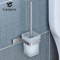 YANJUN Titular de Accesorios de Baño WC Cepillo Cepillo de Baño De Acero Inoxidable Con Un Mango Largo Para El Hogar YJ-81958