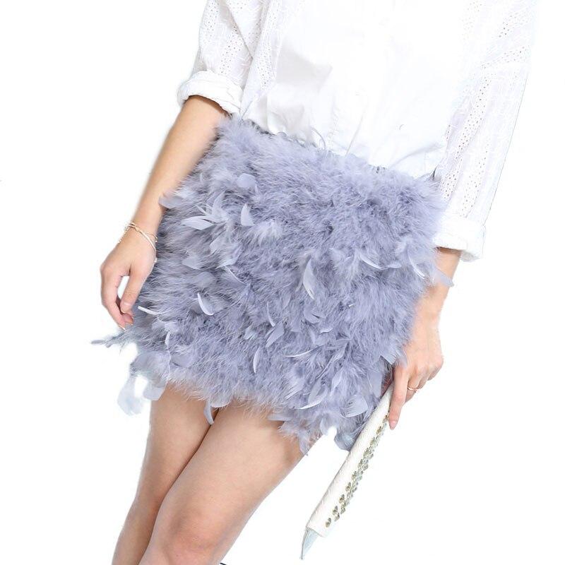 Nouveau Style Femmes décontracté Solide Autruche Jupes plume d'autruche Tubes hauts Chemises D'hiver De Mode Plume Jupes Plume hauts