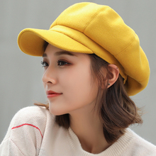 HT1990 Auutmn sombreros de invierno para mujer, gorro plano liso octogonal Newsboy, sombrero de lana informal para hombre y mujer, gorro de pintor
