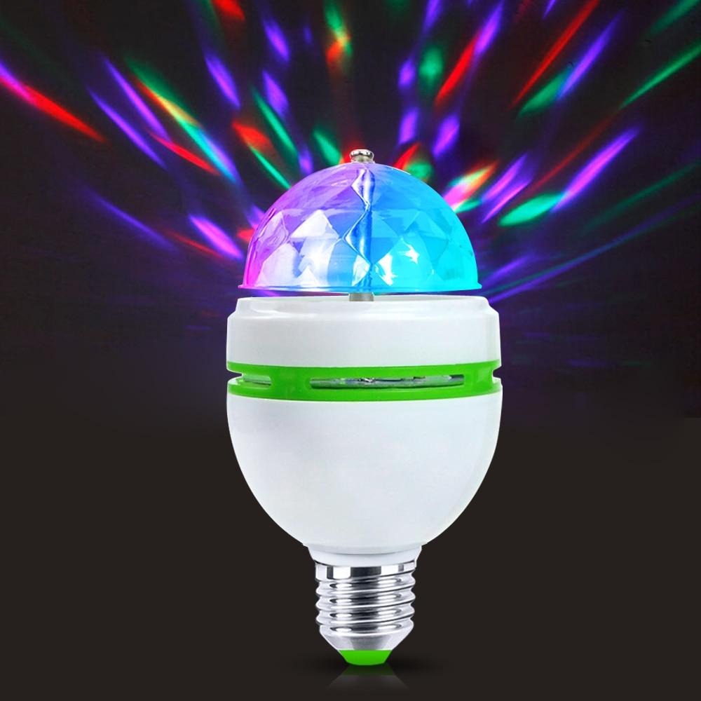 Full Colors E27 85-265V 110V 220V RGB Auto Rotating Stage Light LED Lamp Christmas Atmosphere LED Night Light Spotlight Bulb