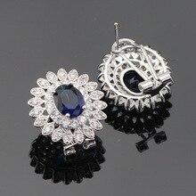 Women Dark Blue White Cubic Zirconia  Jewelry Sets