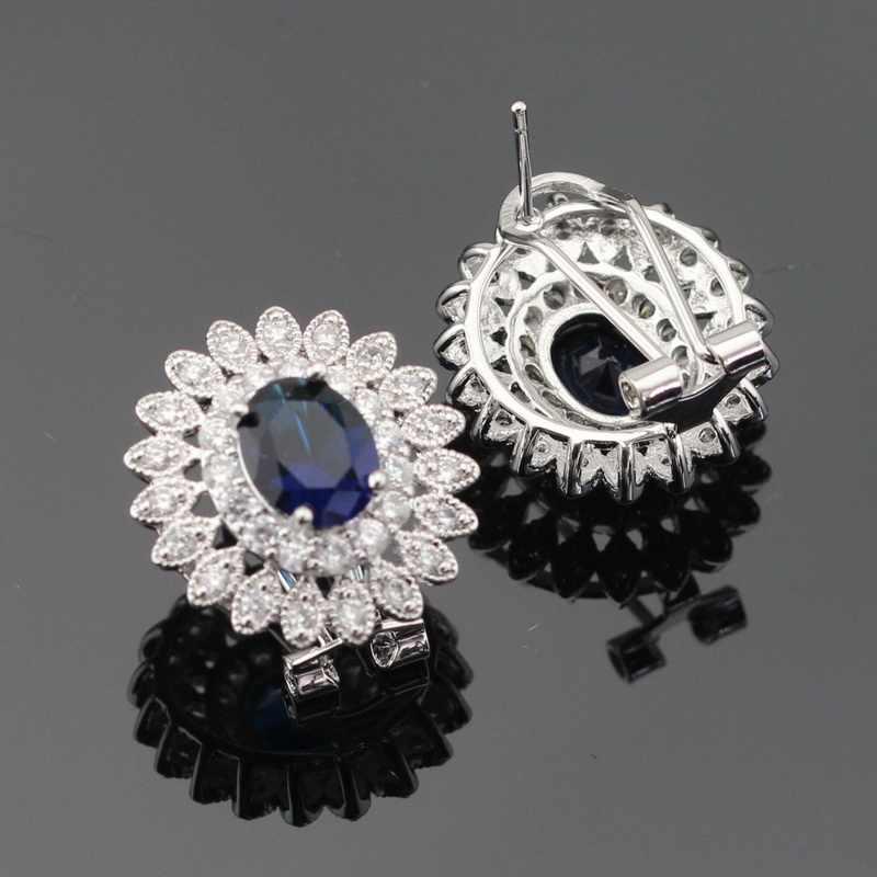 Women Silver Color Jewelry Sets Dark Blue White Cubic Zirconia Necklace Pendant Bracelets Earrings Rings Free Gift Box