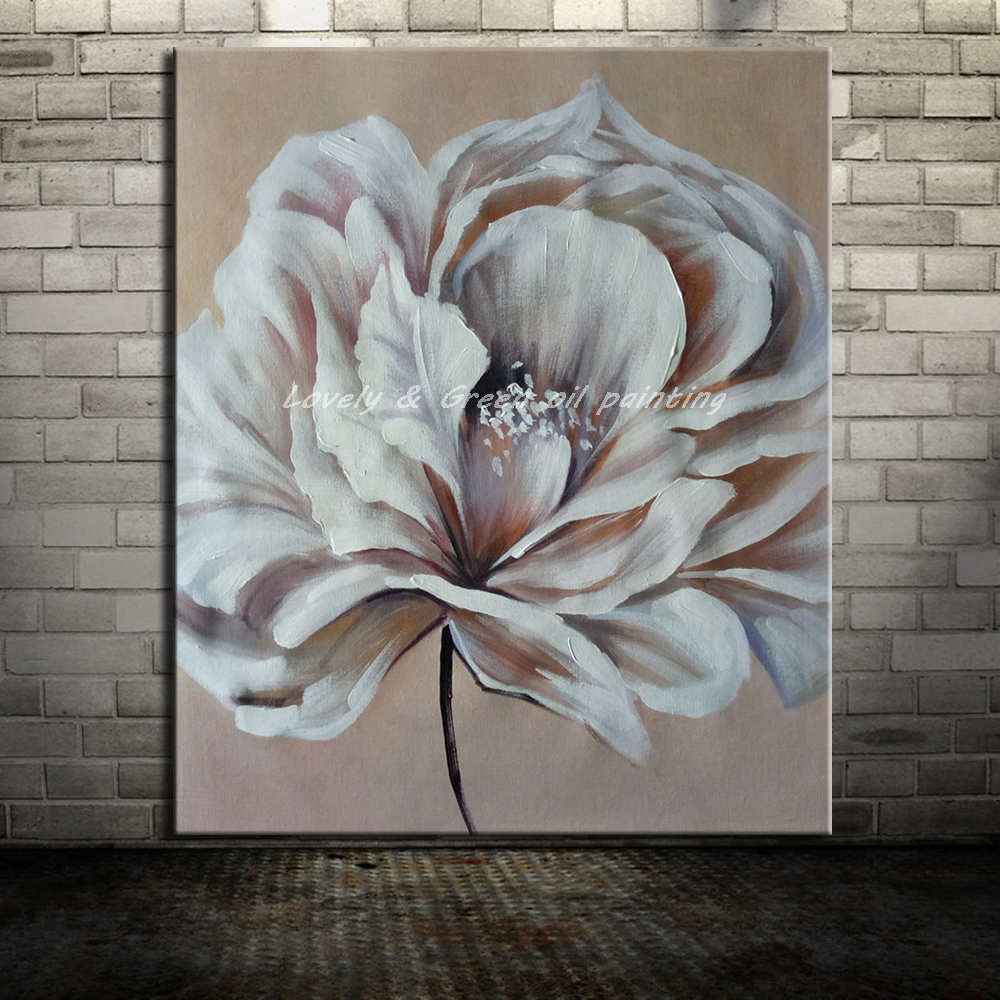 Hand Painted Modern Abstract White Flowers Oil Painting On Canvas