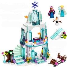 316pcs Girls Friends Elsa's Sparkling Ice Castle Building Blocks Anna Olaf Princess Set Gifts Toys Compatible Legoelieds стоимость