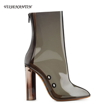 VIISENANTIN Pvc Transparent Lady Short Bootie Pointed Toe High Heeled Crystal Heel All-match Women
