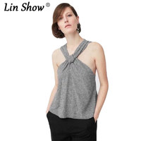 LINSHOW Sexy Halter Sleeveless Black And White Plaid Women Tops Fashion Tie A Knot Toyouth Summer