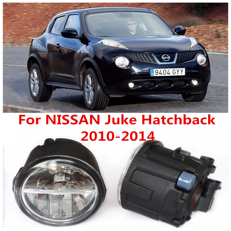 6000K  10W White High Brightness For NISSAN Juke Hatchback 2010-2014 Car Styling Front Bumper LED Fog Lights Lamps DRL 2 PCS car styling front bumper led fog lights high brightness drl driving fog lamps 1set for acura ilx sedan 4 door 2013 2014
