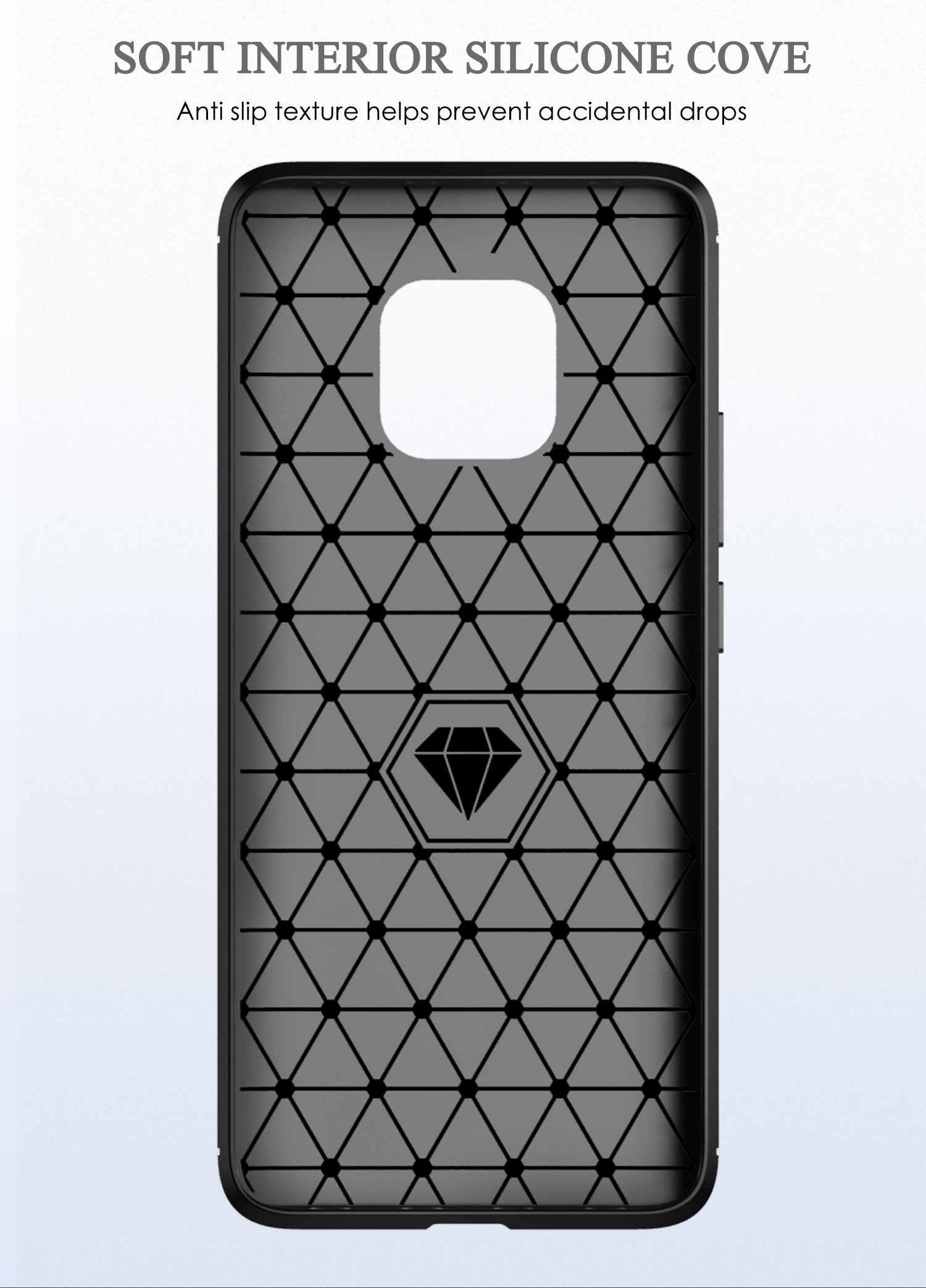 Đối với Huawei Mate 20 RS Porsche Thiết Kế Trường Hợp Sợi Carbon Kết Cấu Brushed TPU Slim Silicon Bìa Cho Huawei Mate20 RS porsche (L92