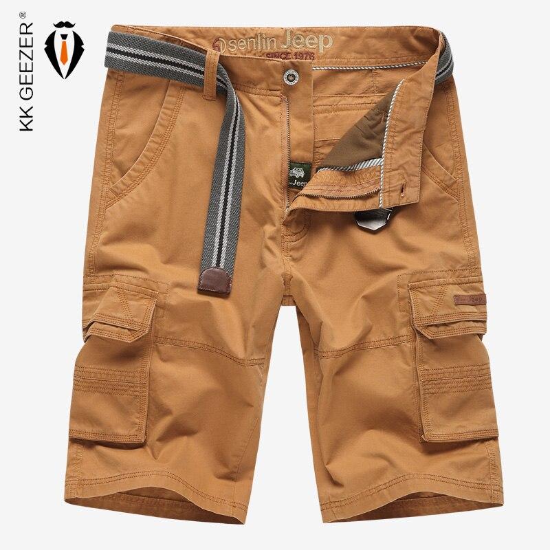 2016 Neue Marke Militärischen Armee Multi Taschen Strand Kurze Hosen Lässige Männer Baumwolle Kurzschlüsse Büro Mittlere Taille Baumwoll Fracht Lose Kurzschlüsse