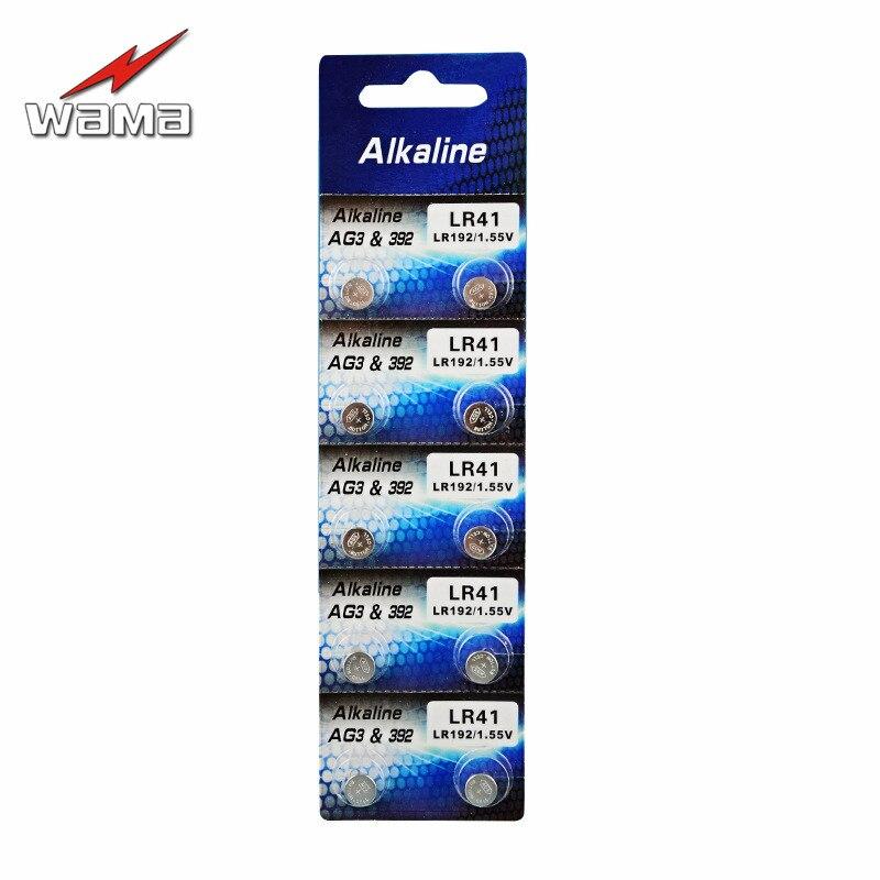 10pcs/lot Wama AG3 1.5V Watch Battery Button Cell LR41 192 L736 392 Alkaline Batteries Colorful Lamp Light Drop Ship