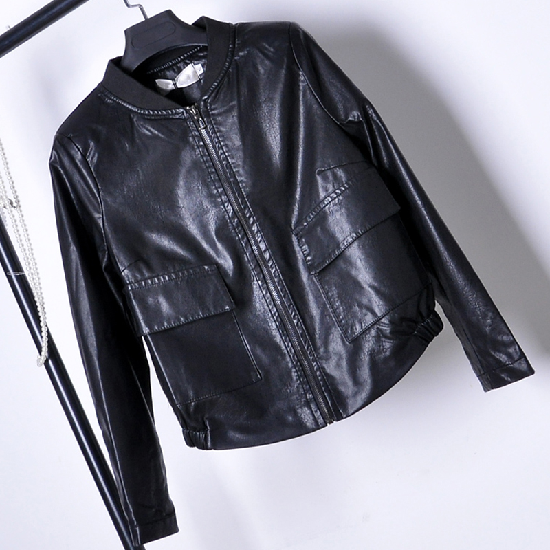 European Style Women Leather Jackets Black Color 3XL Plus Size Spring Female Clothing 2018 Woman Biker Leather Jacket Coat C1720