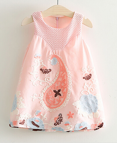 2017 summer children s clothes girls dresses causal elaborate printed sleeveless cotton girl dress for girls
