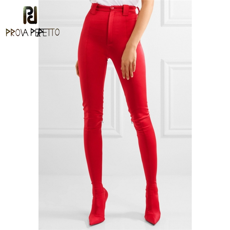 Prova Perfetto New Fashion Red Pants Thigh High Boots Women Pointed Sexy Stilettos Elastic Sock Waist Bootcuts High Heels Shoes red button closure high waist skorts