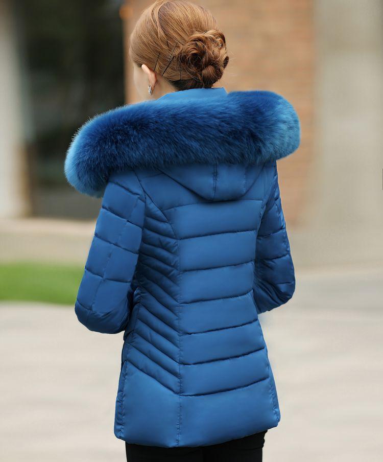 Grand Femmes Taille Coton Col Manteau pourpre Épaisse Moyen Fourrure Court Noir rouge vert Ciel D'âge De Paragraphe D'hiver Doudoune 2018 Avec bleu pu nw0gqtp8E