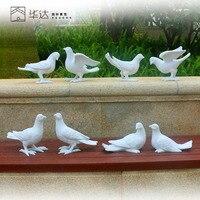 Rustic artificial animal sculpture resin Pigeons craft decoration outdoor decoration 8pcs/lot garden decor home craft