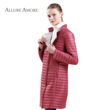 Новый Для женщин куртка парка женская весна теплое пальто куртка длинный тонкий Для женщин пальто тонкий хлопок ветрозащитная куртка стеганая Для  AllureAmore2018