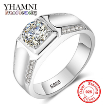 90% OFF! YANHUI Original Jewelry Making 100% Real Solid Silver Rings Set Sona CZ Diamant Engagement Wedding Rings for men  RX014