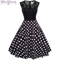 MisShow 2018 New Arrival Black Lace Vintage Dresses Party Women Dresses Summer Floral Printed Sleeveless Lolita
