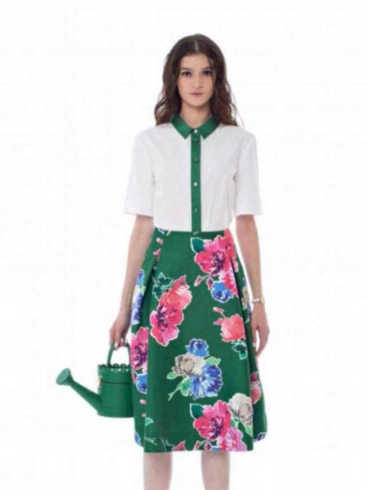 Flower Print Green Skirt White Blouse Suits for Women (2)