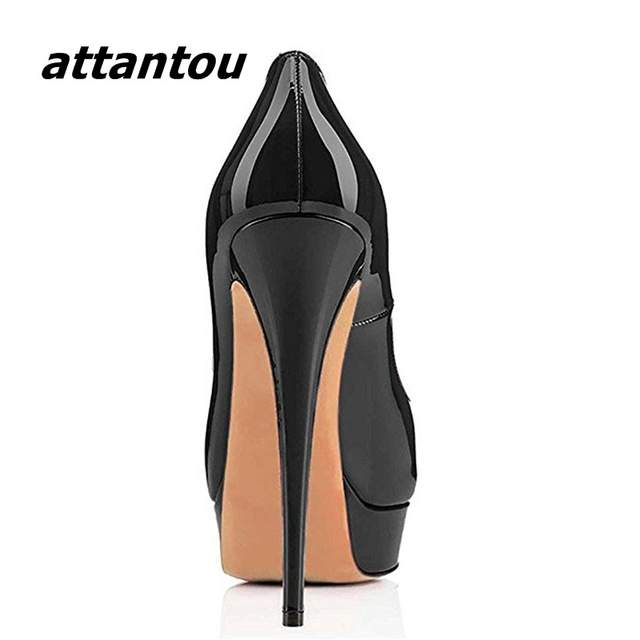 53ee346fb2 placeholder Elegante Couro Mulheres Patente Preto Slip-on Plataforma de  Peep Toe Sapatos De Salto Alto