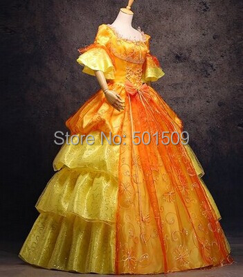Or Medieval Broderie Robe Boule Colonial Princesse Antoinette Renaissance Belle VictorienMarie Gothique Costume Civile W9YD2EHI