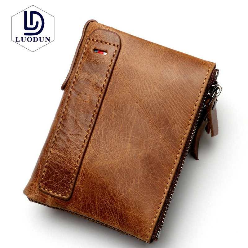 LUODUN Brand new Top Genuine Leather Mens anti-theft anti-RFID leather mens wallet Multi-functional mens vertical walet purse