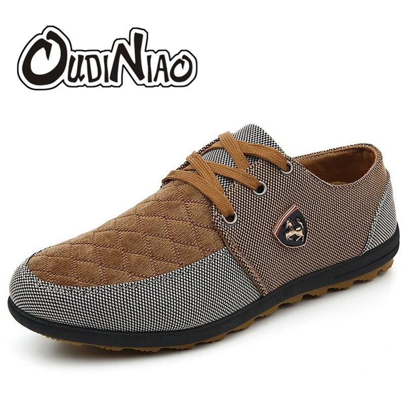 71f556a7f 39-45 dos Homens Sapatas de Lona Oudiniao Grande Tamanho Sapatos Casuais  Primavera Outono Moda dos Homens Venda Quente Flats Lace up Masculino  Calçado