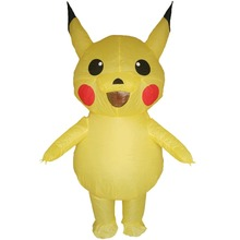 Inflatable Pikachu Costume for Adults Game Pokemon Halloween Carnival Cosplay Party Fancy Dress Men Women Birthday Blow Up Suit