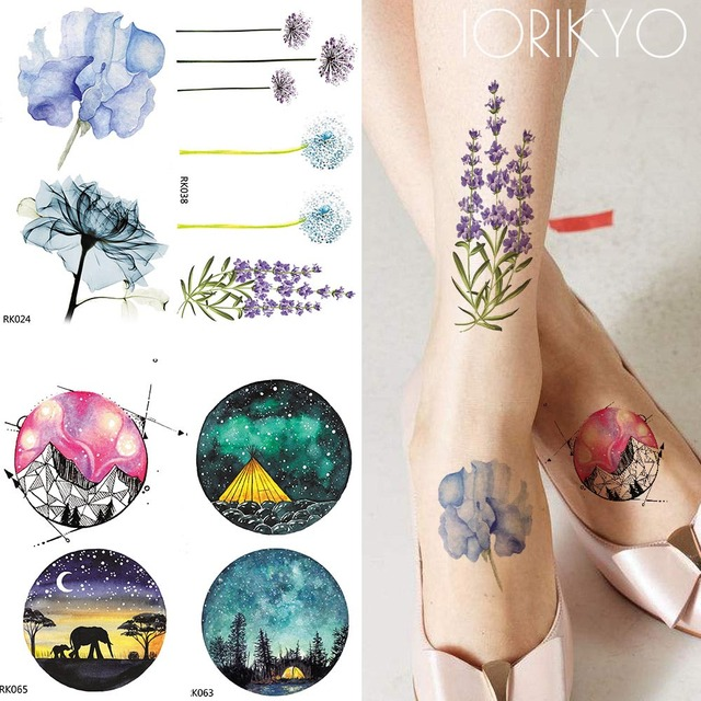 351cd8996 IORIKYO Watercolor Flower Temporary Tattoo Women Arm Flower Lotus Water  Transfer Tatoo Men Galaxy Moon Flash