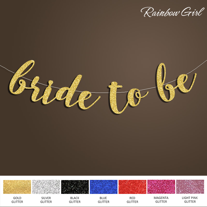 2017 New-Bride to Be Banner,Bridal Shower Sign Backdrop,Gold Glitter - Festive and Party Supplies