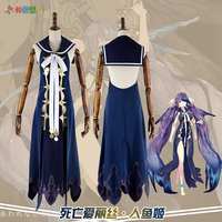 Game SINoALICE The Little Mermaid Uniform Kimono Cosplay Costume+Headwear+Footwear