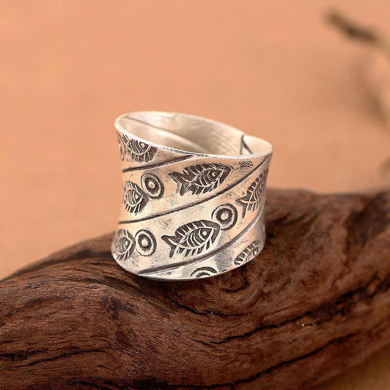 เชียงใหม่ประเทศไทยที่ทำด้วยมือ925แหวนเงินสำหรับผู้หญิง,เดิมเล็กๆน้อยๆปลาR Etroเงินแหวนเพชรสำหรับขายส่ง
