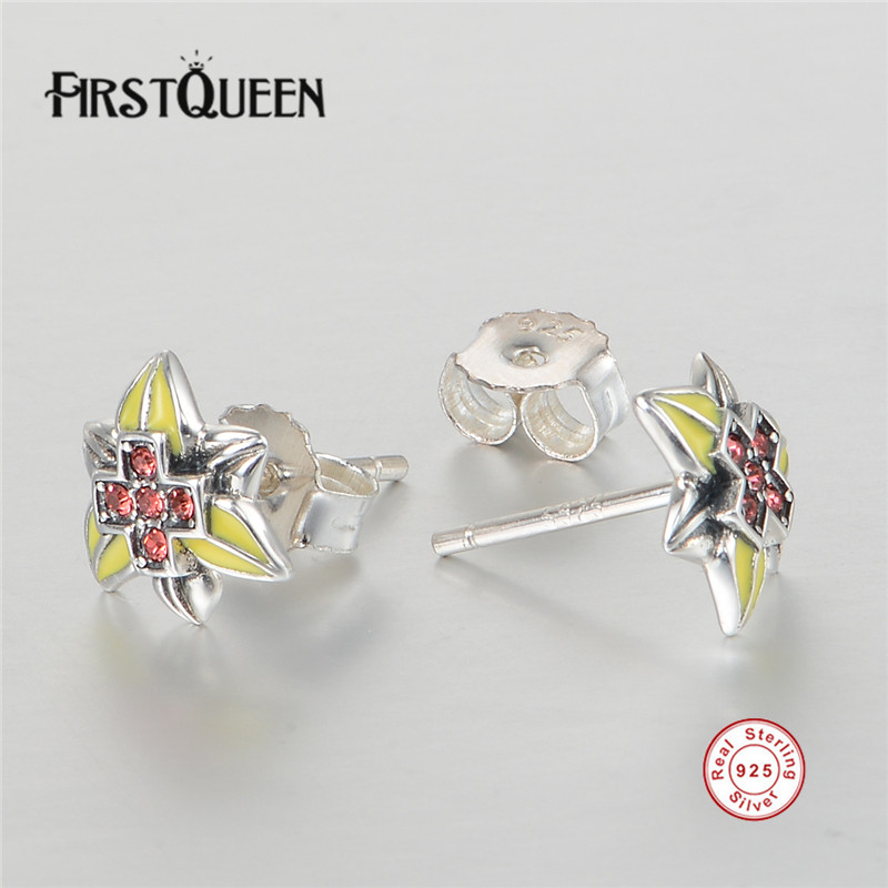 FirstQueen Presents 925 Sterling Silver Enamel Star Stud Earrings Austria CZ Compatible with Jewelry Special Store