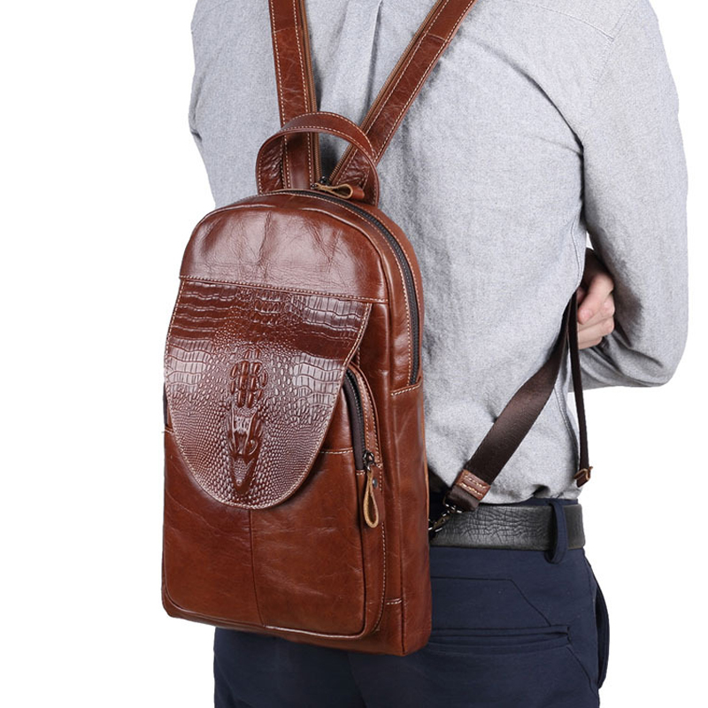 Vintage Men Backpack Genuine Leather Backpacks for teenager School Bag Small Chest Bag Women Shoulder Crossbody Bags Travel Bags